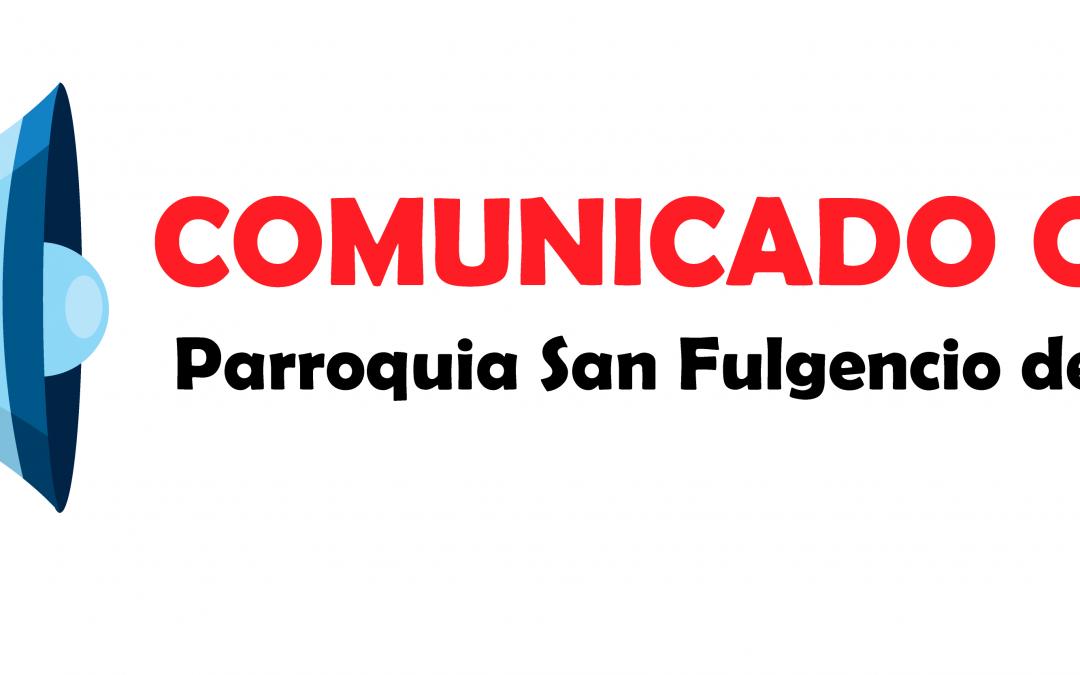NUEVO COMUNICADO OFICIAL DE LA PARROQUIA SOBRE EL CORONAVIRUS